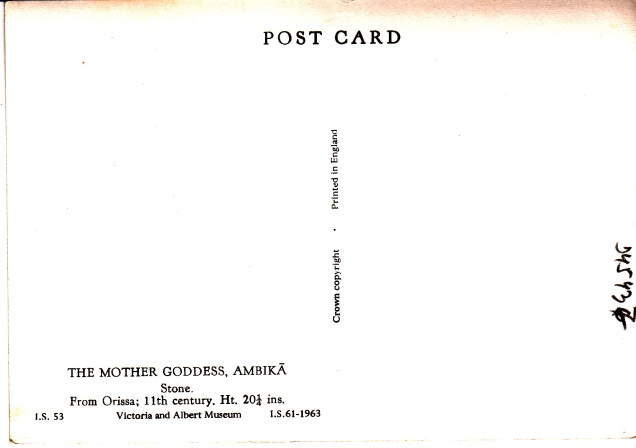 Ambika Jain Goddess Jainism Postcardaback