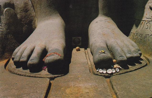 foot of Gomateshwara Sravana Belgola Jainism Postcard