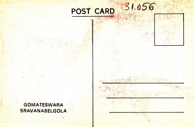 Gomateswara Sravanabelgola Jainism Postcardback