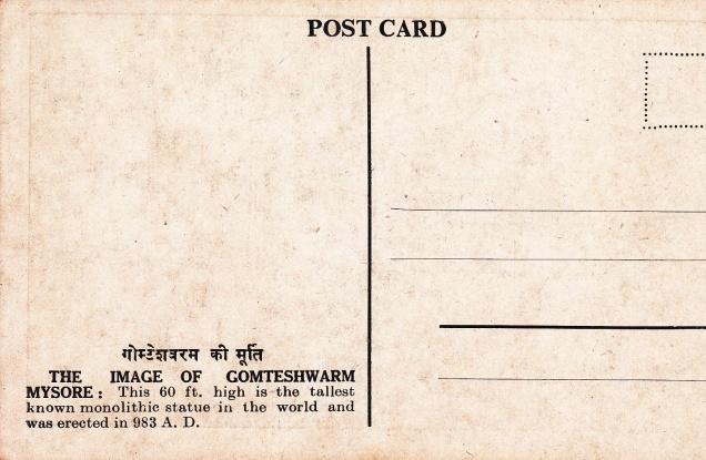 Gomteshwarm Sravana Belgola Jainism Postcardback