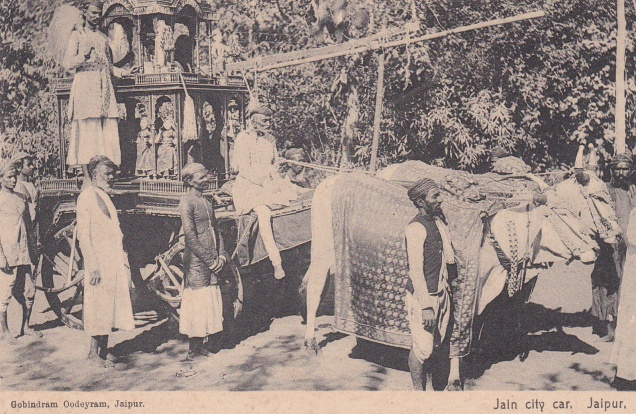 Jain City Car Idol Procession Jaipur Jainism Postcard