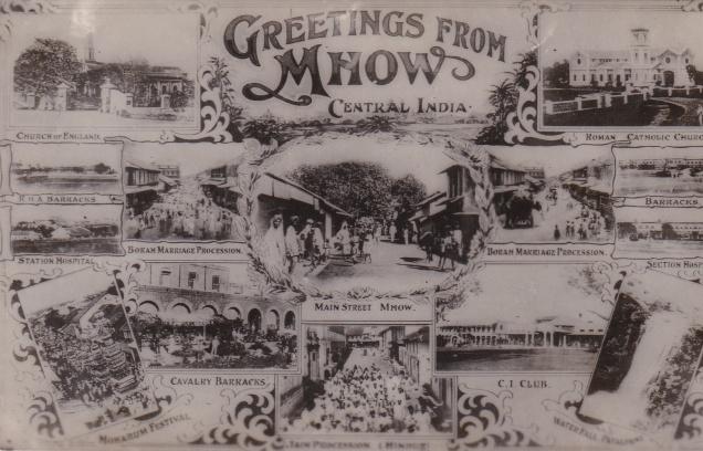 Jain Procession (bottom centre) Mhow multiview Jainism Postcard
