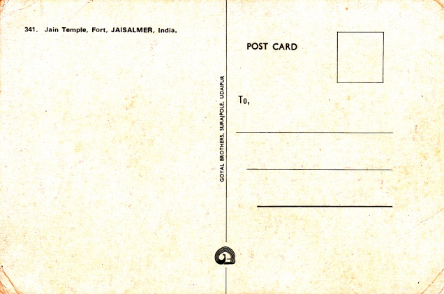 Jaisalmer Jain Temples in the fort Jainism Postcardback