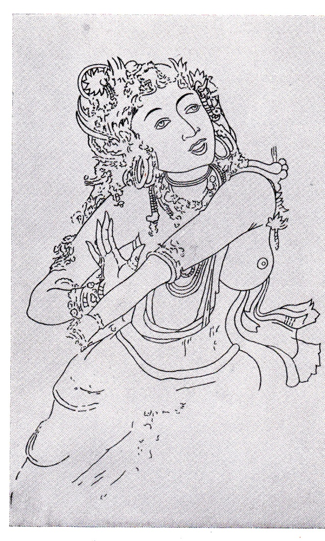 Sittannavasal Jain cave decorative painting Jainism Postcardb