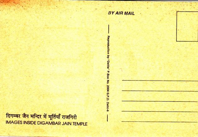 Jina Images Murti in Digambar Temple Rajgirback